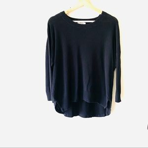Madewell black textured high low pullover sweater